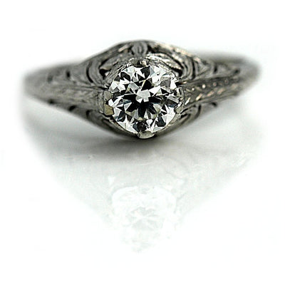 Antique Engagement Ring with European Cut Diamond