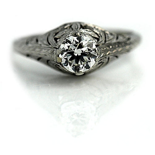 .85 Carat Art Deco Solitaire Diamond Ring