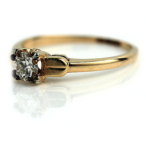 1940's Mid-Century .35 Carat European Cut Diamond Ring