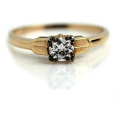 Vintage Diamond Engagement Ring with Trefoil Prongs