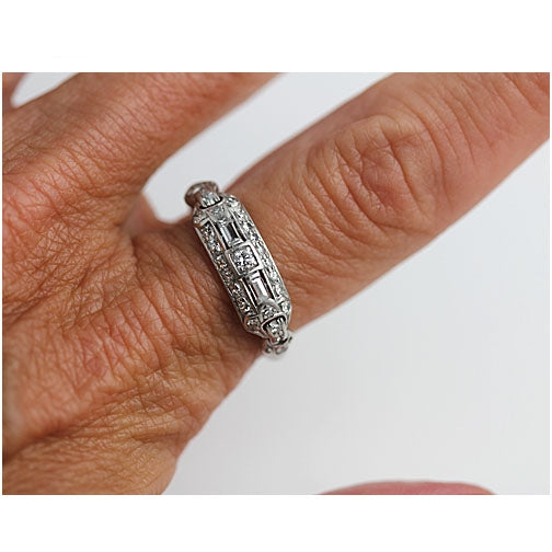 Mid Century Diamond Platinum Wedding Band