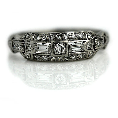 Mid Century Platinum Diamond Wedding Ring
