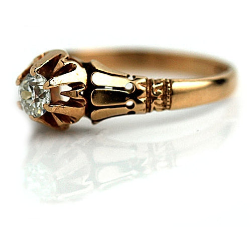 Victorian Rose Gold Mine Cut Diamond Engagement Ring