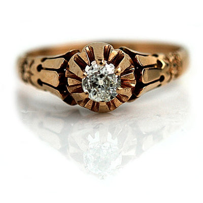 Antique Mine Cut Diamond Engagement Ring