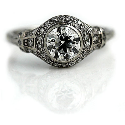 Art Deco Bezel Set Engagement Ring