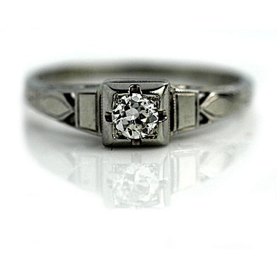 Petite Solitaire Diamond Engagement Ring