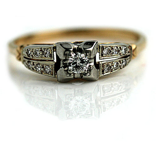 Vintage European Cut Diamond Engagement Ring Circa 1940's
