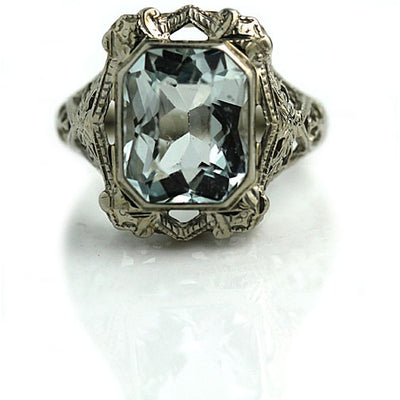 3.50 ct Art Deco Aquamarine Engagement Ring - Vintage Diamond Ring