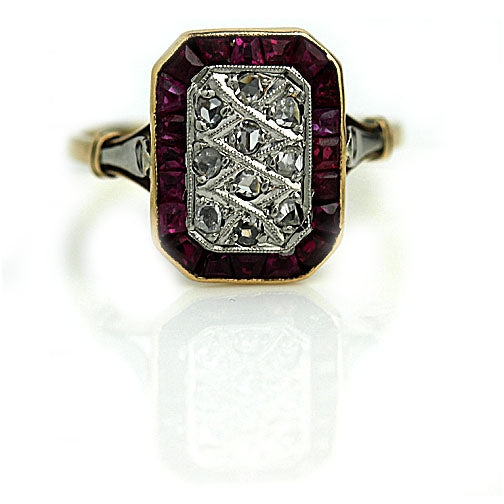 Art Deco Engagement Ring with French Cut Ruby Stones