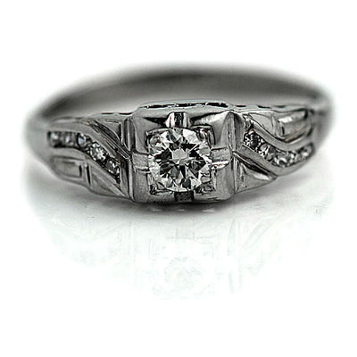 Asymmetric Diamond Engagement Ring with Side Stones