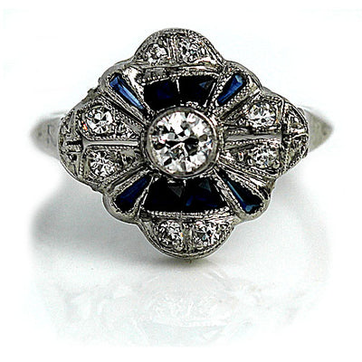 Bezel Set Diamond & Sapphire Halo Engagement Ring - Vintage Diamond Ring