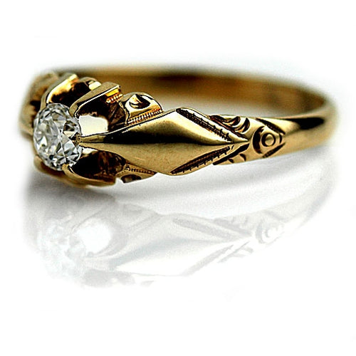 Low Profile Victorian Diamond Engagement Ring