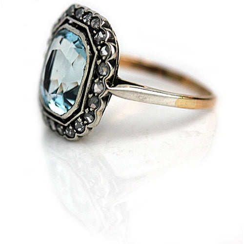 Bezel Set Aquamarine Engagement Ring with Rose Cut Diamonds
