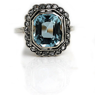 Bezel Set Aquamarine Engagement Ring with Rose Cut Diamonds - Vintage Diamond Ring