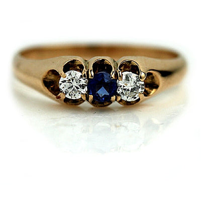 Round Sapphire & Mine Cut Diamond Engagement Ring - Vintage Diamond Ring