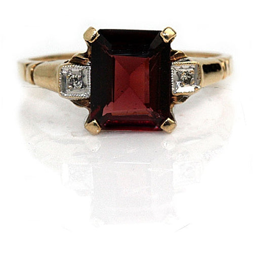 Mid Century 2.00 Carat Garnet Diamond Ring