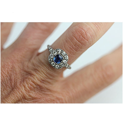 Art Deco Sapphire .50 Carat Diamond Platinum Ring