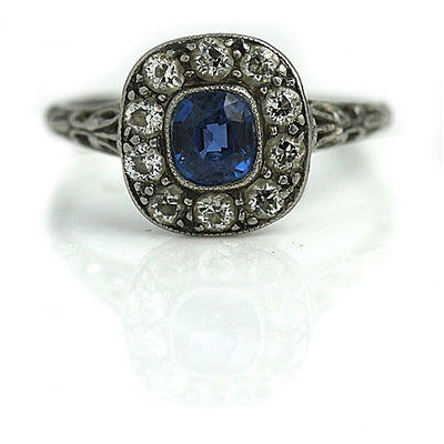 Antique Sapphire & Diamond Halo Engagement Ring - Vintage Diamond Ring