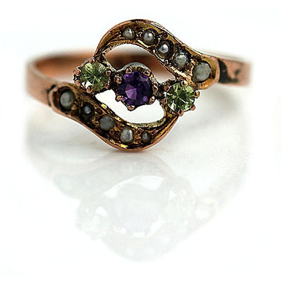 Amethyst Spinel & Pearl Engagement Ring - Vintage Diamond Ring
