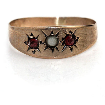Unique Pearl & Garnet Starburst Engagement Ring - Vintage Diamond Ring