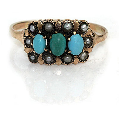 Victorian Turquoise & Pearl Engagement Ring - Vintage Diamond Ring