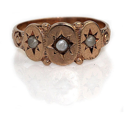 Victorian Pearl Starburst Engagement Ring