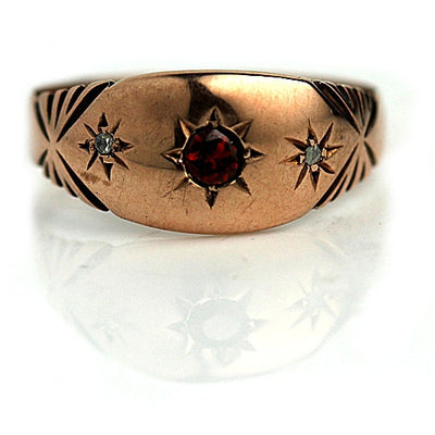 Garnet & Diamond Starburst Engagement Ring - Vintage Diamond Ring