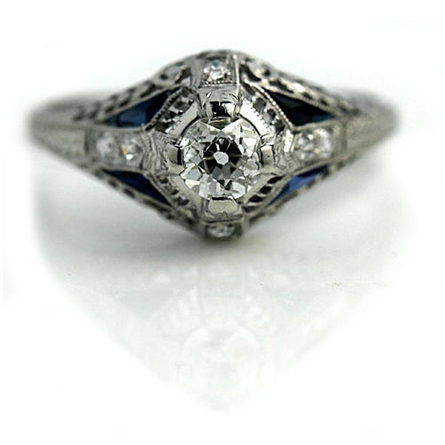 Art Deco Diamond Sapphire Platinum Engagement Ring