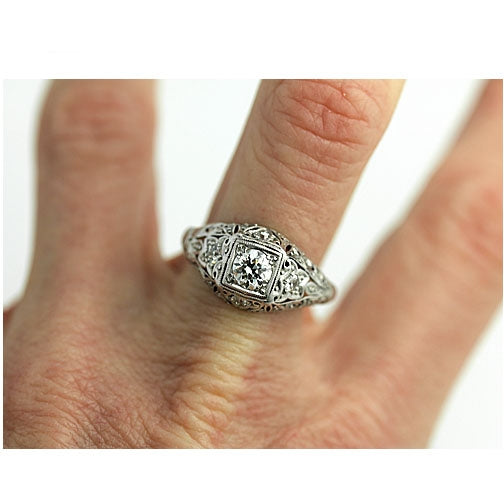 Antique Engagement Ring in Platinum Circa 1930's