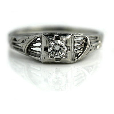 1940s Transitional Cut Diamond Engagement Ring