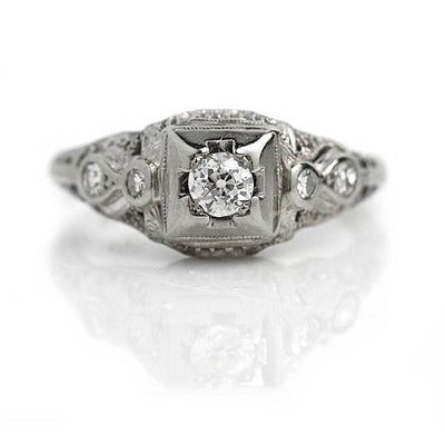 Diamond Engagement Ring With Bezel Set Side Stones