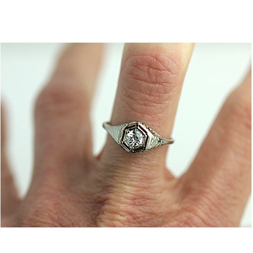 Antique .35 Carat Diamond Solitaire Engagement Ring
