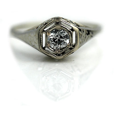 Estate Diamond Engagement Ring with Floral Engravings