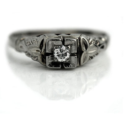 Antique Transitional Cut Diamond Solitaire Engagement Ring