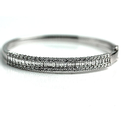 Emerald Cut Diamond Bangle Bracelet