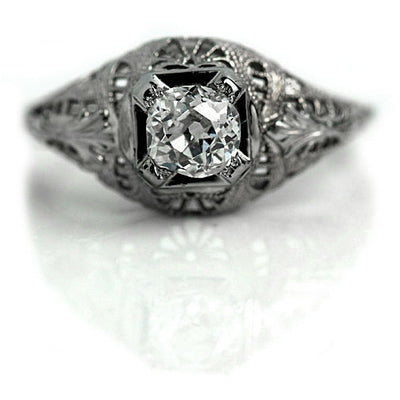 14 Kt White Gold Solitaire Diamond Engagement Ring