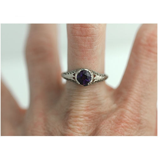 Art Deco Amethyst Engagement Ring .80 Carat