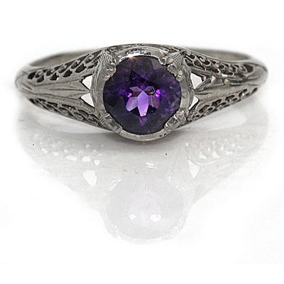 Art Deco Amethyst Engagement Ring .80 Carat - Vintage Diamond Ring