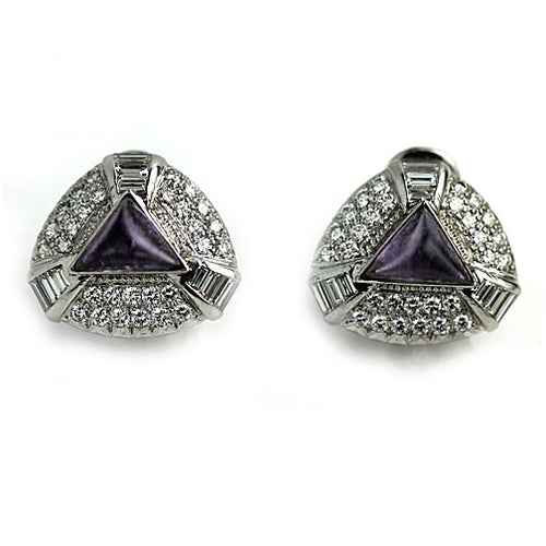 Vintage Amethyst and Diamond Platinum Earrings