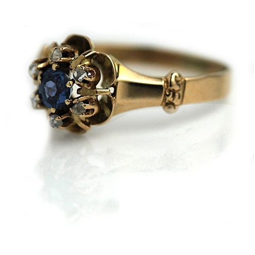 Victorian Sapphire & Diamond Halo Engagement Ring
