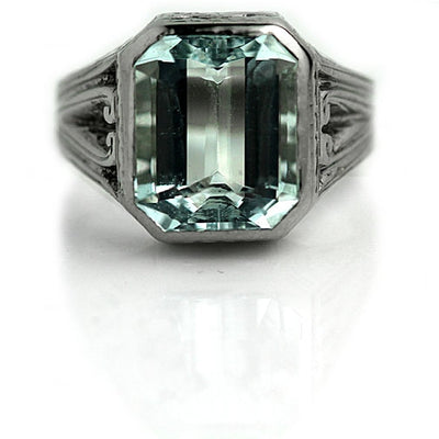 5.35 carat Emerald Cut Aquamarine Engagement Ring - Vintage Diamond Ring