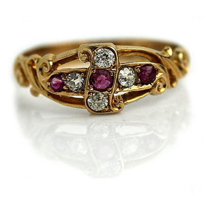 English Stackable Burma Ruby & Diamond Wedding Ring - Vintage Diamond Ring