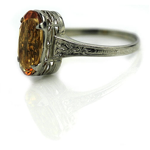 Citrine Engagement Ring with Engraved Band