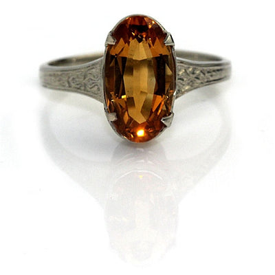 Citrine Engagement Ring with Engraved Band - Vintage Diamond Ring