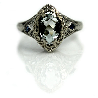 Vintage Aquamarine & Sapphire Engagement Ring - Vintage Diamond Ring