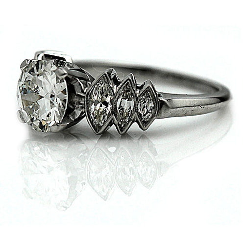 Old European Cut Diamond Engagement Ring with Marquise Side Stones