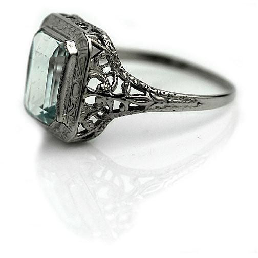 1.75 Art Deco Aquamarine Engagement Ring