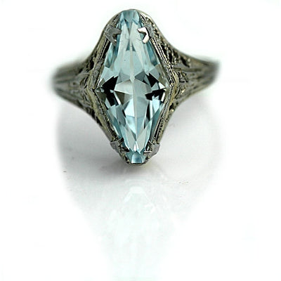 Art Deco Aquamarine Ring 2.50 Carat - Vintage Diamond Ring