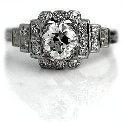 Vintage Diamond Engagement Ring with Side Stones