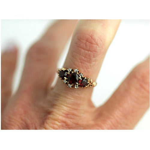 Victorian Garnet Rose Cut Diamond Ring